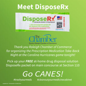 Promotional Piece regarding DisposeRx sponsorship at Carolina Hurricanes